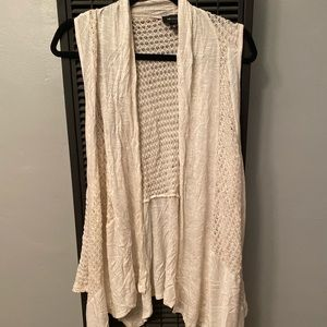 AB Studio Oatmeal Sleeveless Cardigan